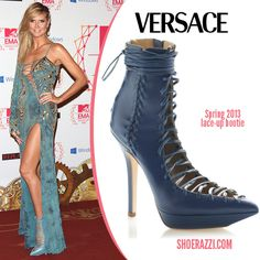 Heidi Klum looking gorgeous as ever in blue lace up heels. Such a fun color for spring!