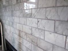 grey marble subway tile backsplash