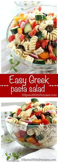 This easy Greek Pasta Salad is quick to make and delicious to eat!  Loaded with feta and fresh veggies, its perfect to serve it as a side with chicken or on its own for lunch on the go!