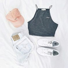 Trendy Makeup Looks For Teens Schools Summer Outfits Teenage Outfits, Teen Fashion Outfits, Cute Casual Outfits, Cute Summer Outfits, Cute Fashion, Girl Outfits, Outfit Summer, Ootd Summer Teen, School Outfits
