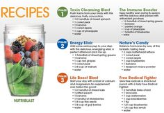 NutriBlast Recipes... We are addicted to these. A little Greek yogurt is a good addition.