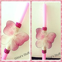 Handmade.. Easter Candle.. Pink.. Rope.. Butterfly..
