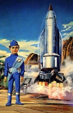 "Thunderbirds, art by Shigeru Komatsuzaki, Japan who was known in Japan as a ""giant in sci-fi illustrations"" whose career arc began during the early-postwar years, its artistic and commercial pinnacle coinciding with Japan's rise as an economic superpower Sci Fi Tv, Sci Fi Movies, Thunderbird 1, Thunderbirds Are Go, Fantasy Tv, Best Series, Old Tv, Retro Futurism, Military Art"