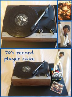 70's record player cake