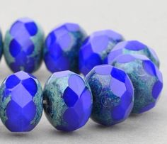 Czech Glass 9x6mm Rondelles Beads in Royal Blue Opaque with Picasso @SolanaKaiBeads #Beads #BeadStore #SolanaKaiBeads