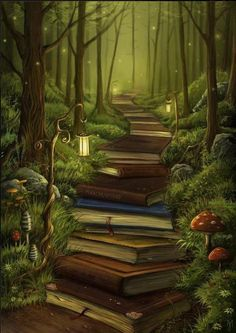One of the books says lord of the rings on the spine! I would totally follow this path. I wonder what's at the end?