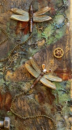 Steampunk Style Mixed Media Canvas Flying Unicorn (Scrapping On The Edge) is part of Unicorn crafts Mixed Media - green color Mixed Media Collage, Mixed Media Canvas, Collage Art, Collage Collage, Paper Collages, Altered Canvas, Altered Art, Arte Steampunk, Steampunk Wings