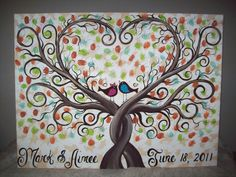 Wedding Guest book thumbprint tree of life X 28 hand painted canvas via Etsy Wedding Tree Guest Book, Guest Book Tree, Tree Wedding, Our Wedding, Perfect Wedding, Wedding Ideas, Wedding Signs, Thumbprint Guest Books, Thumbprint Tree