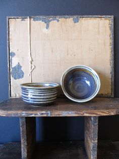 Set of two vintage hand thrown pottery bowls, soups, stews or cereal will never taste better using a stylish modern rustic minimalist bowls. Rustic Blue, Modern Rustic, Vintage Modern, Blue Pottery, Pottery Bowls, Hand Thrown Pottery, Soup Mugs, Vintage Kitchen, Ceramics
