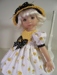 """I have never seen this Doll! That dress! """"Bee Mine"""" Made for 13"""" Effner Little Darling ~ by Treasured Doll Designs"""