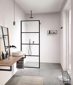 Let's Talk Vessel Sinks & Wall-Mount Faucets Moderne Boho Badezimmer Waschbecken Betonböden Modern Boho Bathroom, Scandinavian Bathroom, Minimalist Bathroom, Simple Bathroom, Minimalist Showers, Scandinavian Modern, Bathroom Vintage, Modern Sink, Luxury Bathrooms