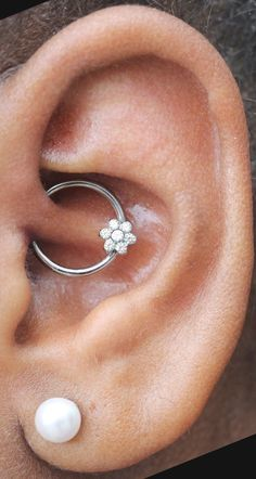 Daith Piercing Jewelry Canada - 16G Crystal Flower Rook Hoop Earring Ring at MyBodiArt.com