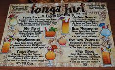 The Tonga Hut drink menu