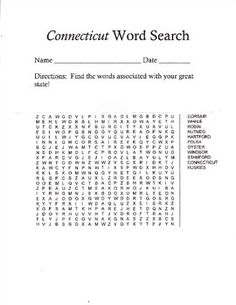 Connecticut State Word searchFind the words associated with your great state!!!