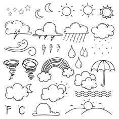 Hand Drawn Doodle Weather Clipart, Weather Clip Art, Cloud Clipart, Sun Cli … - All Ideas Easy Doodles Drawings, Easy Doodle Art, Doodle Art Drawing, Drawing Hands, Cute Easy Doodles, Hand Doodles, Note Doodles, How To Doodles, Doodle Illustrations