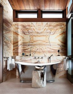 A Colorado bathroom designed by William Sofield features P. E. Guerin fittings. Pin it.