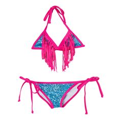 Dippin' Daisy's Girl's Light Sequin Triangle Bikini with Fuchsia Fringe