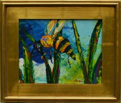 Original Bee Painting- Original Oil Painting - Small Whimsical Nature Painting by Claire McElveen by MCELVEENSTUDIO on Etsy