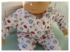 Football PJs for Bitty Baby American Girl Doll by BonJeanCreations, $14.49