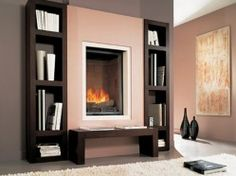 Place identical bookshelves on either side of off-center fireplace