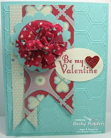 Inking Idaho: Be My Valentine Fabric Flower. More Amore DSP, Honeycomb embossing folder, StampinUp.