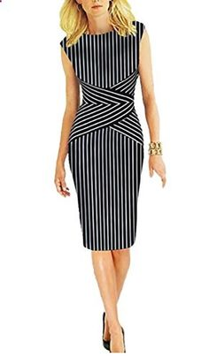 FORTRIC Summer Striped Sleeveless Wear to Work Casual Party Pencil Business Dress Go to the website to read more description.