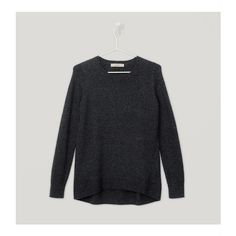 LOFT Essential Crew Neck Sweater ($50) ❤ liked on Polyvore featuring tops, sweaters, winter charcoal melange, long sleeve crew neck sweater, loft tops, crew-neck sweaters, crew neck tops and loft sweaters