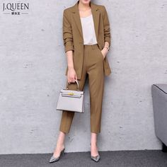 Office Suits For Women 2017 Spring Pant Suits Women Trouser Suit Pantsuit With Jacket Business Suit Formal Fashion Business Casual Dress Shoes, Casual Work Outfits, Professional Outfits, Work Attire, Office Outfits, Classy Outfits, Business Outfits, Office Wardrobe, Casual Attire