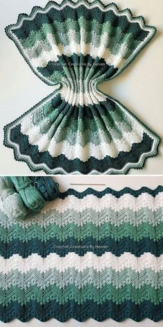 green and white 6 Day Kid Blanket Punto Zig Zag Crochet, Chevron Crochet Blanket Pattern, Crochet Ripple Afghan, Crochet Butterfly Pattern, Afghan Crochet Patterns, Baby Blanket Crochet, Crochet Toilet Roll Cover, Kids Blankets, Crochet Designs