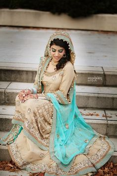 Blue/nude desi wedding outfit!