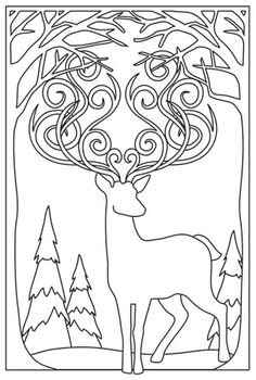 Sunset Stag_image --> For the best coloring books and supplies including… Animal Coloring Pages, Colouring Pages, Adult Coloring Pages, Coloring Sheets, Coloring Books, Christmas Colors, Christmas Crafts, Embroidery Patterns, Hand Embroidery