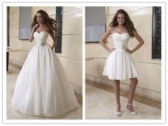 2 in 1 wedding dress  makes a creative breakthrough in the fashion show. Buy one dress, you can get two styles.       Organza and Chiffon Je...