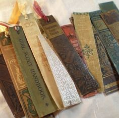happycrafterbee: What better way to make use of an old hardcover book than to make a bookmark from it's spine? These are the perfect budget friendly gift idea for the word nerd in your life, or for yourself…. Source: http://totallygreencrafts.com/2012/08/book-spine-bookmarks/