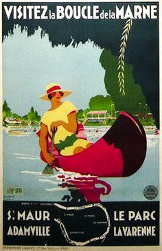 Vintage Travel Poster - La Boucle de la Marne - St. Maur - Adamville - Le Parc La Varenne - by Jacques Vano - c1925.