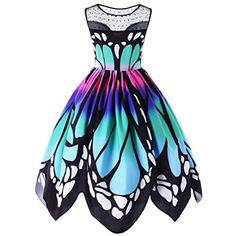 us womens butterfly printing sleeveless party dress printed natural butterfly vintage swing lace beach dress women's clothing. Product ID: Plus Size Party Dresses, Cute Prom Dresses, Pretty Dresses, Beautiful Dresses, Short Dresses, Summer Dresses, Pageant Dresses, Evening Dresses, Robe Swing