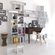 Have a fabulous desk? Make a feature of it by building your bookshelf around it. Cubit create clever shelving ideas that you can mix and match.