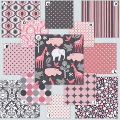 Custom Crib Bedding YOU DESIGN-  Baby Zoology in Pink and Gray. $238.00, via Etsy.