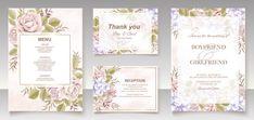 Premium Vector | Elegant floral template wedding card Wedding Invitation Card Template, Wedding Card Templates, Save The Date Invitations, Floral Wedding Invitations, Wedding Cards, Fall Flowers, Wedding Flowers, Pink Abstract, Watercolor Rose