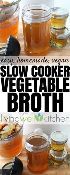 Crock Pot Soup, Crock Pot Slow Cooker, Slow Cooker Recipes, Crockpot Recipes, Vegan Recipes, Vegan Meals, Recipes With Vegetable Broth, Homemade Vegetable Broth, Crock Pot Vegetables
