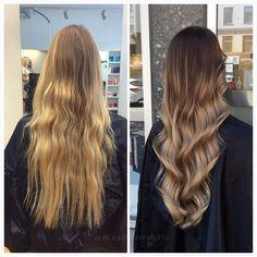 Vilket hår!! En mörkare balayage med kallare längder ✨ #beforeandafter…