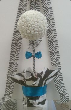 Marshmallow Topiary Centerpiece Zebra Print and by SeshalynParties, $24.99