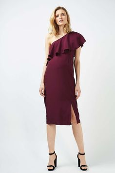 MATERNITY One Shoulder Frill Dress - Maternity - Clothing - Topshop USA $110