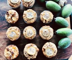 Feijoa Muffins with Ginger & Walnuts Fejoa Recipes, Guava Recipes, Walnut Recipes, Baking Recipes, Pineapple Guava, Fresh Ginger, Kids Meals, Brown Sugar