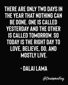 There are only two days in the year that nothing can be done. One is called yesterday and the other is called tomorrow. Wise Quotes, Quotable Quotes, Words Quotes, Great Quotes, Wise Words, Quotes To Live By, Motivational Quotes, Inspirational Quotes, Strong Quotes