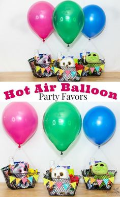 Launch the perfect party with these easy DIY Up Up and Away Hot Air Balloon Party Favors with Helium balloons, simple baskets, stuffed animals, Sparkling juice, and easily customized for each kid! A cute gift idea for a 1st birthday, Around the world them
