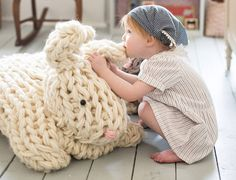 Hop to it and make this Giant Arm Knit Bunny in time for Easter | Inhabitots