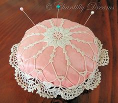Antique Victorian Hand Crocheted Pin Cushion