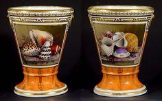 Flight & Barr Worcester Porcelain Sea shell decorated cache pots  1800-1805