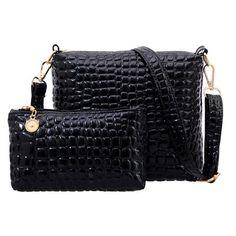 2PCS Women Bags 2017 New Fashion Bag Handbags Fashion Handbags Messenger Shoulder Bag Crocodile PU Leather bags  F40-664