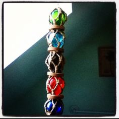 Hanging glass balls with a hippie vibe